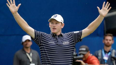 <p>               Brandt Snedeker reacts after winning the Wyndham Championship golf tournament at Sedgefield Country Club in Greensboro, N.C., Sunday, Aug. 19, 2018. (AP Photo/Chuck Burton)             </p>