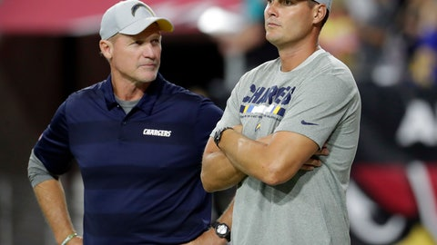 <p>               Los Angeles Chargers quarterback Philip Rivers, right, watches warm ups with assistant coach Ken Whisenhunt prior to an preseason NFL football game against the Arizona Cardinals, Saturday, Aug. 11, 2018, in Glendale, Ariz. (AP Photo/Rick Scuteri)             </p>
