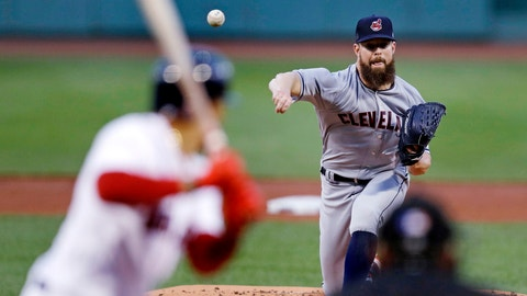 <p>               Cleveland Indians starting pitcher Corey Kluber delivers during the first inning of a baseball game against the Boston Red Sox at Fenway Park in Boston, Monday, Aug. 20, 2018. (AP Photo/Charles Krupa)             </p>