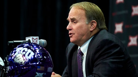 <p>               FILE - In this July 16, 2018, file photo, TCU football head coach Gary Patterson speaks during NCAA college football Big 12 media days in Frisco, Texas. Patterson is doing his best to keep everyone from looking ahead to a long-anticipated game in Week 3. The 16th-ranked Horned Frogs, who have won 16 consecutive home openers, host SWAC teams Southern University on Saturday. TCU then still has a Friday night game at crosstown and former Southwest Conference rival SMU before the Sept. 15 game at the home of the NFL's Dallas Cowboys against Ohio State. (AP Photo/Cooper Neill, File)             </p>