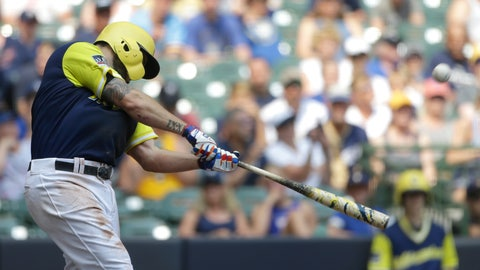 <p>               Milwaukee Brewers' Mike Moustakas hits a two-run home run during the third inning of a baseball game against the Pittsburgh Pirates Sunday, Aug. 26, 2018, in Milwaukee. (AP Photo/Aaron Gash)             </p>