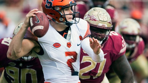 <p>               FILE - In this Nov. 4, 2017, file photo, Syracuse quarterback Eric Dungey throws the ball away as Florida State defensive tackles Demarcus Christmas (90) and Marvin Wilson close in during the first half of an NCAA college football game in Tallahassee, Fla. (AP Photo/Mark Wallheiser, File)             </p>