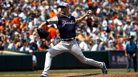 <p>               New York Yankees starting pitcher J.A. Happ throws to the Baltimore Orioles in the second inning of a baseball game, Saturday, Aug. 25, 2018, in Baltimore. (AP Photo/Patrick Semansky)             </p>