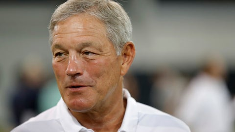 <p>               FILE - In this Aug. 10, 2018, file photo, Iowa head coach Kirk Ferentz speaks to reporters during an NCAA college football media day, in Iowa City, Iowa. Iowa will attempt to give coach Kirk Ferentz his 144th win with a host of new starters this weekend.(AP Photo/Charlie Neibergall, File)             </p>