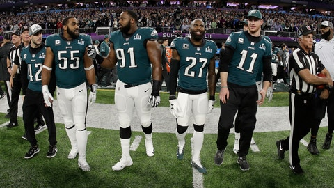 <p>               FILE - In this Feb. 4, 2018, file photo, Philadelphia Eagles' Chris Maragos, Brandon Graham, Fletcher Cox, Malcolm Jenkins and Carson Wentz, from left, walk to midfield before the NFL Super Bowl 52 football game against the New England Patriots in Minneapolis. Before they try to become the ninth team to repeat as Super Bowl champions, the Philadelphia Eagles will try to accomplish another tough task. Winning consecutive NFC East titles is so difficult it hasn't happened since the Eagles did it four straight seasons from 2001-04. (AP Photo/Matt Slocum, File)             </p>