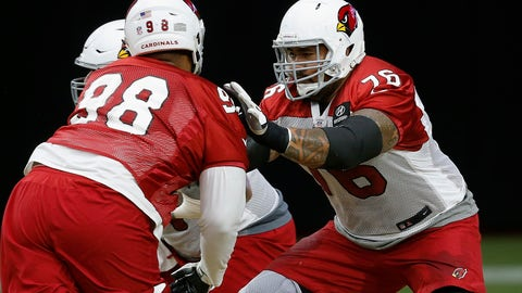 <p>               Arizona Cardinals offensive guard Mike Iupati (76) blocks defensive tackle Corey Peters, right, during an NFL football practice Monday, Aug. 13, 2018, in Glendale, Ariz. (AP Photo/Ross D. Franklin)             </p>