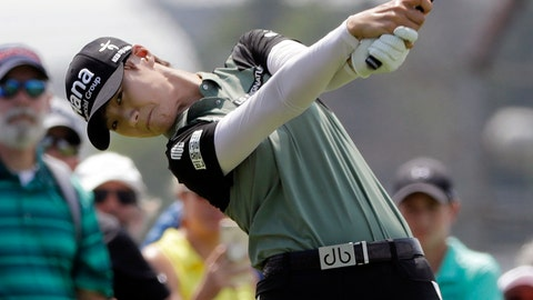 <p>               Sung Hyun Park, of South Korea, tees off on the first hole during the final round of the Indy Women in Tech Championship golf tournament, Sunday, Aug. 19, 2018, Indianapolis. (AP Photo/Darron Cummings)             </p>