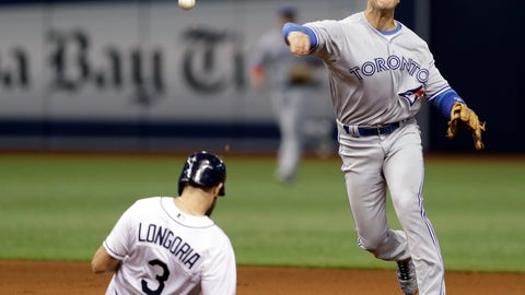 <p>               FILE - In this  Thursday, April 6, 2017, file photo, Toronto Blue Jays shortstop Troy Tulowitzki gets Tampa Bay Rays' Evan Longoria out at second and relays the throw to first in time to turn a double play on Brad Miller during the fourth inning of a baseball game in St. Petersburg, Fla. Troy Tulowitzki insists he wants to regain his job as everyday shortstop for the Toronto Blue Jays next season, even though the five-time All-Star has not played in more than a year. (AP Photo/Chris O'Meara, File)             </p>