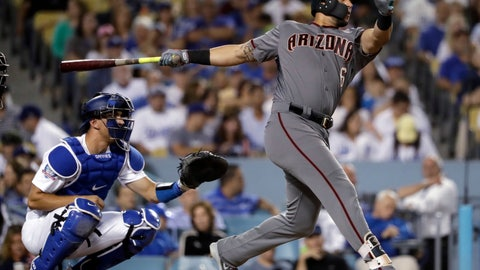 <p>               Arizona Diamondbacks' David Peralta follows through on a three-run home run against the Los Angeles Dodgers during the fifth inning of a baseball game Thursday, Aug. 30, 2018, in Los Angeles. (AP Photo/Marcio Jose Sanchez)             </p>