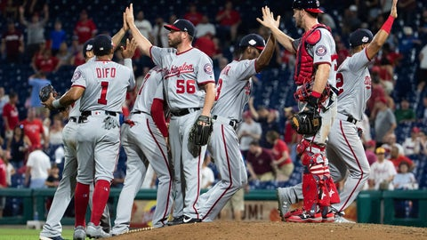 <p>               The Washington Nationals celebrate their 5-4 win after the ninth inning of a baseball game against the Philadelphia Phillies, Tuesday, Aug. 28, 2018, in Philadelphia. (AP Photo/Chris Szagola)             </p>