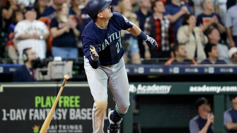<p>               Seattle Mariners' Ryon Healy drops his bat after hitting a home run against the Houston Astros during the ninth inning of a baseball game Sunday, Aug. 12, 2018, in Houston. (AP Photo/David J. Phillip)             </p>