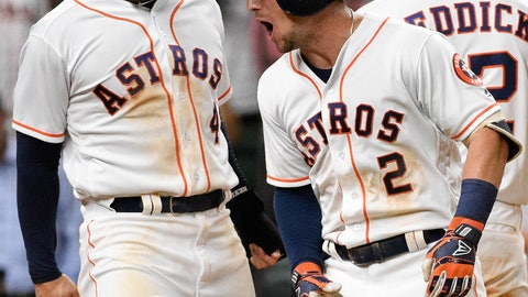<p>               Houston Astros' Alex Bregman, right, celebrates his three-run home run off Oakland Athletics relief pitcher Lou Trivino with George Springer during the eighth inning of a baseball game, Monday, Aug.  27, 2018, in Houston. (AP Photo/Eric Christian Smith)             </p>