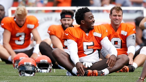 <p>               Cleveland Browns quarterbacks Tyrod Taylor (5), Brogan Roback (3), Baker Mayfield and Drew Stanton (9) stretch during NFL football training camp Sunday, Aug. 12, 2018, in Berea, Ohio. (AP Photo/Ron Schwane)             </p>