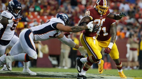 <p>               Washington Redskins running back Adrian Peterson (26) gets away from Denver Broncos defensive end Adam Gotsis (99) during the first half of a preseason NFL football game Friday, Aug. 24, 2018, in Landover, Md. (AP Photo/Alex Brandon)             </p>