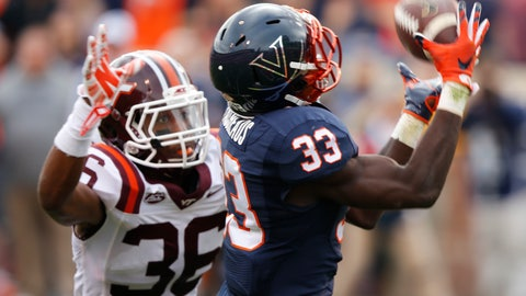 <p>               FILE-This Saturday Nov. 28, 2015 file photo shows Virginia running back Olamide Zaccheaus (33) as he hauls in a pass as Virginia Tech Adonis Alexander (36) defends in Charlottesville, Va. Virginia head coach Bronco Mendenhall hasn't been bashful about telling Zaccheaus that he expects more from him this year, even though the junior set the school single-season reception record with 85 catches for 895 yards and five touchdowns in 2017. (AP Photo/Steve Helber, File)             </p>