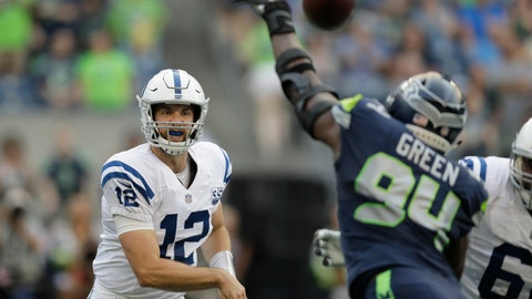 <p>               Indianapolis Colts quarterback Andrew Luck (12) passes through the defense of Seattle Seahawks defensive end Rasheem Green during the first half of an NFL football preseason game, Thursday, Aug. 9, 2018, in Seattle. (AP Photo/Stephen Brashear)             </p>