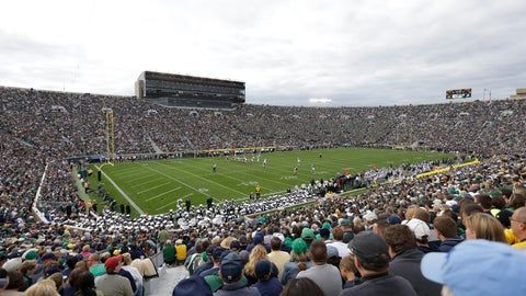 <p>               FILE - This is a Sept. 21, 2013, file photo, showing fans during the second half of an NCAA college football game between Notre Dame and Michigan State in South Bend, Ind. No. 14 Michigan plays at No. 12 Notre Dame on Saturday, Sept. 1, 2018. (AP Photo/Michael Conroy, File)             </p>