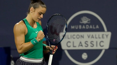 <p>               Maria Sakkari, of Greece, celebrates after winning a point against Venus Williams, of the United States, during the Mubadala Silicon Valley Classic tennis tournament in San Jose, Calif., Friday, Aug. 3, 2018. Sakkari won 6-4, 7-6 (2). (AP Photo/Jeff Chiu)             </p>