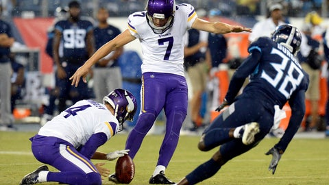 <p>               Minnesota Vikings kicker Daniel Carlson (7) kicks a 39-yard field goal as Tennessee Titans defender Kenneth Durden (38) rushes in the first half of a preseason NFL football game Thursday, Aug. 30, 2018, in Nashville, Tenn. Holding is Ryan Quigley (4). (AP Photo/Mark Zaleski)             </p>