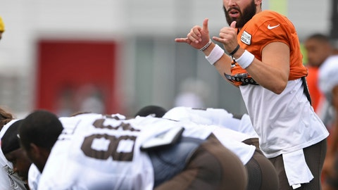 <p>               FILE - In this Tuesday, Aug. 7, 2018, file photo, Cleveland Browns quarterback Baker Mayfield signals during NFL football training camp in Berea, Ohio. The Browns rookie quarterback, and perhaps their QB of the future, will make his NFL exhibition debut on Thursday night as Cleveland visits the New York Giants. (AP Photo/David Dermer, File(             </p>