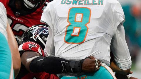 <p>               Atlanta Falcons linebacker Anthony Winbush (56) sacks Miami Dolphins quarterback Brock Osweiler (8) during the first half of an NFL preseason football game, Thursday, Aug. 30, 2018, in Atlanta. (AP Photo/Mike Stewart)             </p>