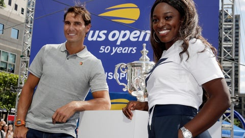 <p>               Defending champions Rafael Nadal and Sloane Stevens pose with the tournament's trophies during the reveal of the 2018 U.S. Open draw in New York, Thursday, Aug. 23, 2018.  (AP Photo/Richard Drew)             </p>