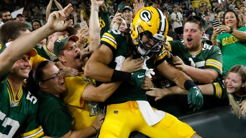 <p>               Green Bay Packers' Equanimeous St. Brown celebrates his touchdown catch during the second half of a preseason NFL football game against the Tennessee Titans Thursday, Aug. 9, 2018, in Green Bay, Wis. The Packers won 31-17. (AP Photo/Mike Roemer)             </p>