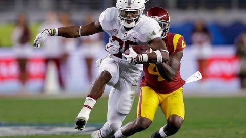 <p>               FILE - In this Dec. 1, 2017, file photo, Stanford running back Bryce Love (20) runs in front of Southern California safety Chris Hawkins (4) during the first half of the Pac-12 Conference championship NCAA college football game in Santa Clara, Calif. Love's decision to return for his senior year instantly made him a preseason front-runner for some of college football's top individual awards. (AP Photo/Marcio Jose Sanchez, File)             </p>