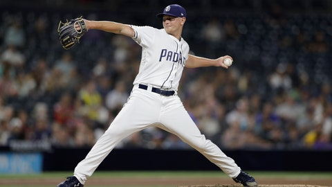<p>               San Diego Padres starting pitcher Eric Lauer works against a Colorado Rockies batter during the fourth inning of a baseball game Thursday, Aug. 30, 2018, in San Diego. (AP Photo/Gregory Bull)             </p>