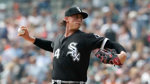<p>               Chicago White Sox starting pitcher Michael Kopech throws during the first inning of a baseball game against the Detroit Tigers, Sunday, Aug. 26, 2018, in Detroit. (AP Photo/Carlos Osorio)             </p>