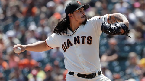 <p>               San Francisco Giants pitcher Dereck Rodriguez throws against the Pittsburgh Pirates during the first inning of a baseball game in San Francisco, Sunday, Aug. 12, 2018. (AP Photo/Jeff Chiu)             </p>