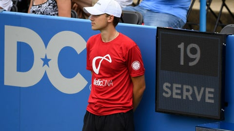 <p>               In this Friday, Aug. 3, 2018, photo, a ball boy stands next to the serve clock during a match between Kei Nishikori, of Japan, and Alexander Zverev, of Germany, at the Citi Open tennis tournament in Washington. (AP Photo/Nick Wass)             </p>