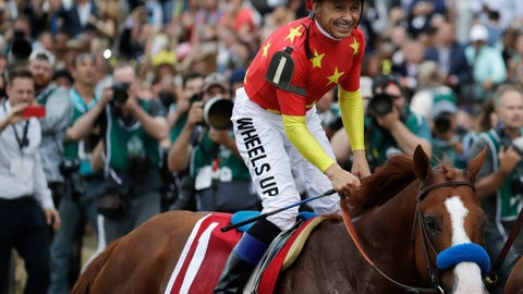 <p>               FILE - In this June 9, 2018, file photo, Jockey Mike Smith smiles after guiding Justify to the win in the Belmont Stakes horse race, taking the Triple Crown, in Elmont, N.Y. Smith will be honored by the National Turf Writers and Broadcasters with the Mr. Fitz Award. (AP Photo/Julio Cortez, File)             </p>
