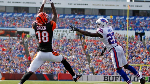 <p>               Cincinnati Bengals wide receiver A.J. Green (18) catches a pass for a touchdown in front of Buffalo Bills' Tre'Davious White (27) during the first half of a preseason NFL football game Sunday, Aug. 26, 2018, in Orchard Park, N.Y. (AP Photo/Jeffrey T. Barnes)             </p>