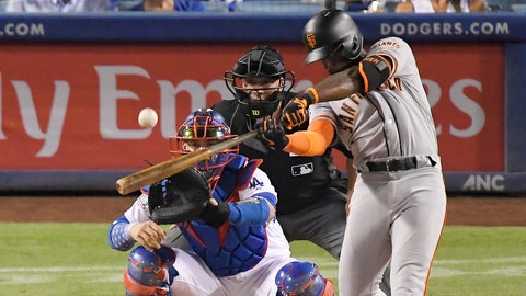 <p>               FILE - In this Aug. 15, 2018, file photo, San Francisco Giants' Andrew McCutchen hits a three-run home run as Los Angeles Dodgers catcher Yasmani Grandal and home plate umpire Stu Scheurwater watch during the eighth inning of a baseball game in Los Angeles. The playoff-contending New York Yankees are close to completing a trade for San Francisco Giants outfielder Andrew McCutchen. A person familiar with the negotiations told The Associated Press on Thursday night, Aug. 30, 2018,  the Yankees would send infielder Abiatal Avelino and another minor leaguer to San Francisco for McCutchen. The person spoke on condition of anonymity because the deal wasn't finalized. (AP Photo/Mark J. Terrill, File)             </p>