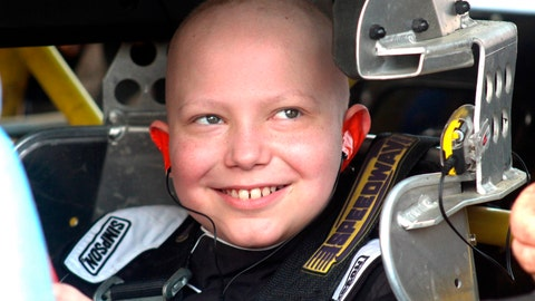 <p>               In this Saturday, Aug. 18, 2018, photo, Caleb Hammond, an 11-year-old Iowa boy who wants racing stickers to cover his casket after he dies from leukemia, grins before heading out in a stock car designed for children on the Southern Iowa Speedway dirt track in Oskaloosa, Iowa. His passion for racing is what prompted the request for stickers. (Angie Holland, Oskaloosa Herald via AP)             </p>