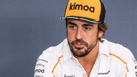 <p>               Mclaren driver Fernando Alonso of Spain speaks during a media conference ahead of the Belgian Formula One Grand Prix in Spa-Francorchamps, Belgium, Thursday, Aug. 23, 2018. The Belgian Formula One Grand Prix will take place on Sunday, Aug. 26, 2018. (AP Photo/Geert Vanden Wijngaert)             </p>