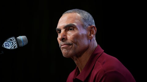 <p>               FILE - This July 25, 2018, file photo shows Arizona State head coach Herm Edwards pausing while speaking at the Pac-12 Conference NCAA college football Media Day in Los Angeles. Herm Edwards is ready to step back on the sidelines, preparing to lead Arizona State in its season opener Saturday night against UTSA, and he's favored to win, too. (AP Photo/Jae C. Hong, File)             </p>