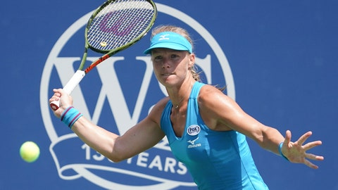 <p>               Kiki Bertens, of the Netherlands, returns to Petra Kvitova, of the Czech Republic, in a semi-final match at the Western & Southern Open tennis tournament, Saturday, Aug. 18, 2018, in Mason, Ohio. (AP Photo/John Minchillo)             </p>