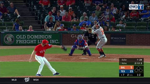 WATCH: Beltre Makes the Out from his Knees | Orioles at Rangers