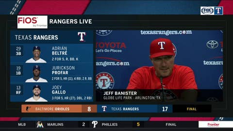Jeff Banister talks 17-8 rout against Baltimore