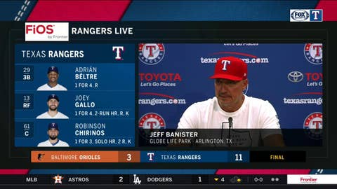 Jeff Banister talks Rangers confidence after 11-3 win over Baltimore