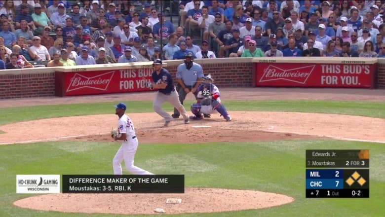 WATCH: Brewers' Mike Moustakas shines in loss to Cubs