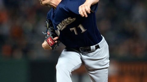 Milwaukee Brewers pitcher Josh Hader (71) delivers against the San Francisco Giants during the sixth inning of a baseball game, Thursday, July 26, 2018, in San Francisco. (AP Photo/D. Ross Cameron)