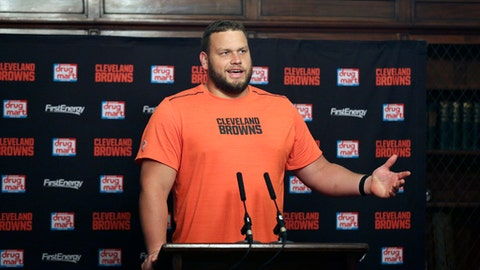 FILE - In this Oct. 27, 2017, file photo, Cleveland Browns offensive lineman Joel Bitonio speaks during a press conference following a training session in Bagshot, England. Bitonio would rather not be the one to try and fill Joe Thomas legendary shoes. One of the NFLs top left guards, Bitonio is content staying at that position unless the Browns need him to slide over and replace Thomas, the 10-time Pro Bowl tackle who retired after last season, leaving a massive hole in Clevelands line and locker room. (AP Photo/Tim Ireland, File)