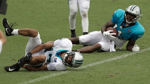 Carolina Panthers' Ross Cockrell, left, holds his leg in pain after being injured as Torrey Smith, right, looks on during an NFL football practice at the team's training camp in Spartanburg, S.C., Monday, July 30, 2018. (AP Photo/Chuck Burton)