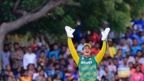 South Africa's Quinton de Kock celebrates taking a catch to dismiss Sri Lanka's Shehan Jayasuriya during their second one-day international cricket match in Dambulla, Sri Lanka, Wednesday, Aug. 1, 2018. (AP Photo/Eranga Jayawardena)