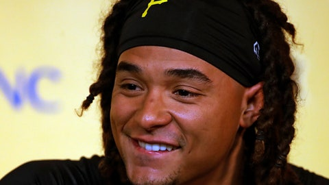 Pittsburgh Pirates pitcher Chris Archer, newly acquired from the Tampa Bay Rays, talks with reporters at PNC Park after a long toss workout before a baseball game against the Chicago Cubs in Pittsburgh, Wednesday, Aug. 1, 2018. (AP Photo/Gene J. Puskar)