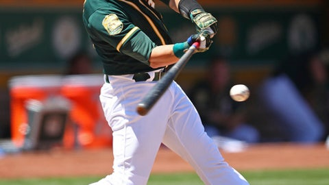 Oakland Athletics' Jonathan Lucroy swings for an RBI single against the Toronto Blue Jays in the sixth inning of a baseball game Wednesday, Aug. 1, 2018, in Oakland, Calif. (AP Photo/Ben Margot)