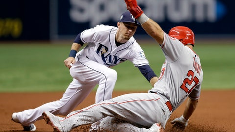 Los Angeles Angels' Mike Trout (27) gets tagged out by Tampa Bay Rays third baseman Matt Duffy while trying to steal third base during the first inning of a baseball game Wednesday, Aug. 1, 2018, in St. Petersburg, Fla. (AP Photo/Chris O'Meara)